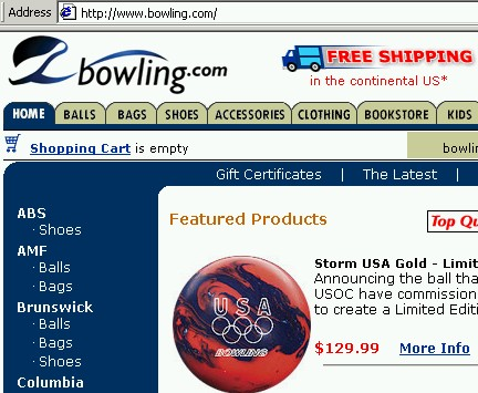 Bowling Suppliers Web Site